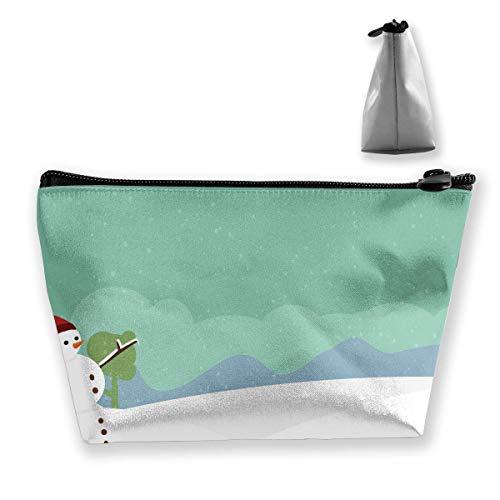Winter-Schneelandschaft-Karikatur-Schneemann in der Schnee-Reise-Make-uptasche Reise-Wäsche-Taschen junger Federmäppchen