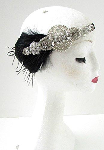 Kopfschmuck/Haarreif mit Federn, Great Gatsby-Stil, 1920er / Stil der Zwanziger, Vintage, Federschmuck mit Schmucksteine, Schwarz/silberfarben, (1920er Jahre Outfit)