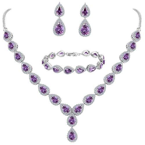 Clearine Damen Hochzeit Braut Tropfen CZ Unendlichekeit Figur 8 Y-Halskette Tennis Armband Dangle Ohrringe Set Amethystfarben Silber-Ton