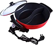 Electric Hot Pot with Divider, Shabu Shabu Electric Hot Pot for 2 Flavor Experience, Non Stick Smokeless Yin Y