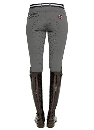 SPOOKS Reithose für Damen Mädchen Kinder, Voll-Grip-Besatz Reithosen Leggings Turnierreithose - bequem & stylisch Valerie Full Grip - Stone L