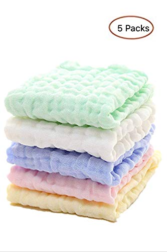 Salviettine per mussola per neonati - salviettine per neonati in cotone naturale al 100% - asciugamano per neonato e panno morbido per la pelle sensibile (5 pcs)