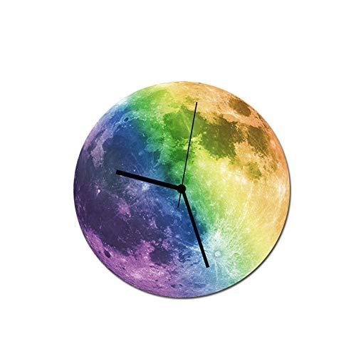 Persevering Melody - Clock Kreative Wanduhr Leuchtend Mond Dekoration Wandaufkleber Foto Wanduhr Umweltschutz Wasserdicht PVC 30Cm * 30Cm,Multicolour