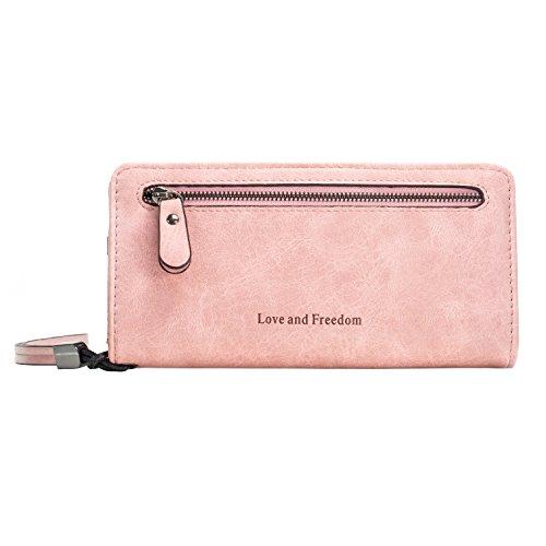 Echtes Leder Damen Geschäfts-Geldbörse mit Armband | Damen Unterarmtasche mit Innenaufteilung wie ein Akkordeon | ID, Kredit- und Geldkartenfächer | Reißverschluss (Rosa) (Id-geldbörse)