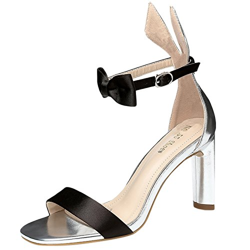 Oasap Women's Fashion Open Toe Ankle Bow High Heels Sandals silver