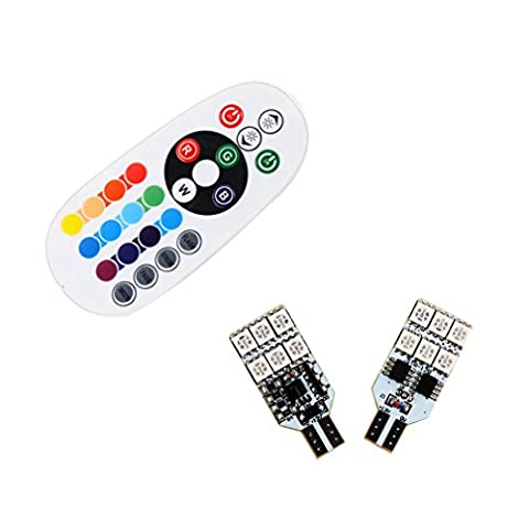 S&D 2 X T15 LED Bulbs For Reading Light Door Lights - Easy Controlled With Remoter Colorful RGB