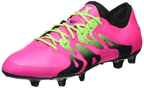 adidas X 15.1 Fg/Ag, Chaussures de Football Homme Rose (Shock Pink/Solar Green/Core Black)