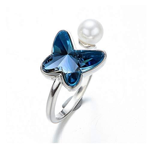 Knsam farfalla per donne s925 argento cristallo di swarovski pearl inlaid adjustable anello aperto blu