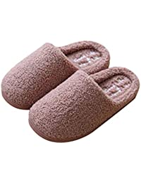 Juleya Herren Damen Winter Schuhe Schafwolle Pantoffel Hausschuhe Lammfell  Hüttenschuhe Indoor Warme Rutschfeste Hausschuhe b98396a6d9