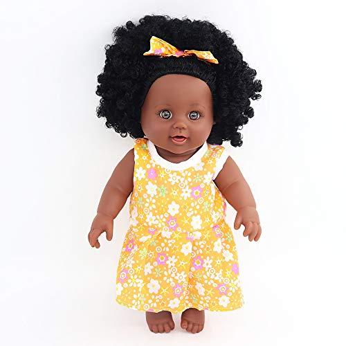 MYYXGS Baby Doll Silikon Black Doll Interactive Game Kinderspielzeug -12 Zoll Begleiter Kinder und Mädchen Geburtstagsgeschenke 30CM (Neugeborenen Traktor Kleidung)