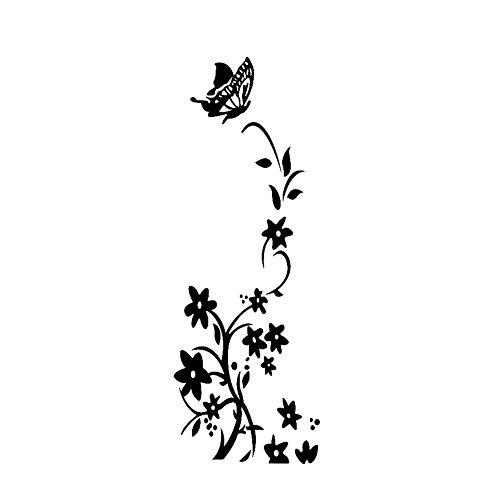 Drawihi 1 Stück PVC Blume Vine Aufkleber Kühlschrank Aufkleber Persönlichkeit Kleiderschrank Aufkleber Kreative Dekorative Aufkleber (Schwarz)