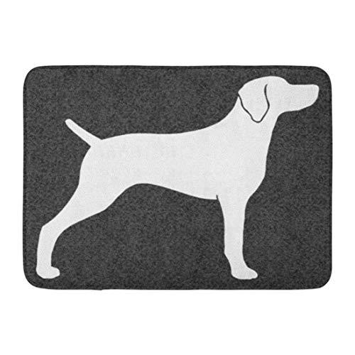 LIS HOME Badematte grau Weimaraner Hund Silhouette Weimeraner Weim Haustiere Tiere Badezimmer Dekor Teppich -