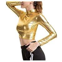 GRMO Women Crop Top Long Sleeve Turtle Neck Metallic Wet Look Blouse T-Shirt Golden US L