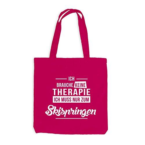 Jutebeutel - Ich Brauche Keine Therapie Skispringen - Jump Ski Pink