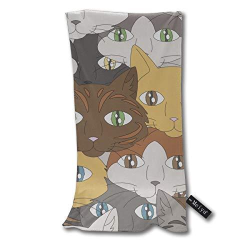 Eine Darstellung der Gesichter verschiedener Arten von Hauskatzen. Raster-Handtuch-Geschirrtuch-Blumenleinen-super weiches Extraabsorptionsmittel für Bad, Badekurort und Turnhalle 12 x 27,5 Zoll