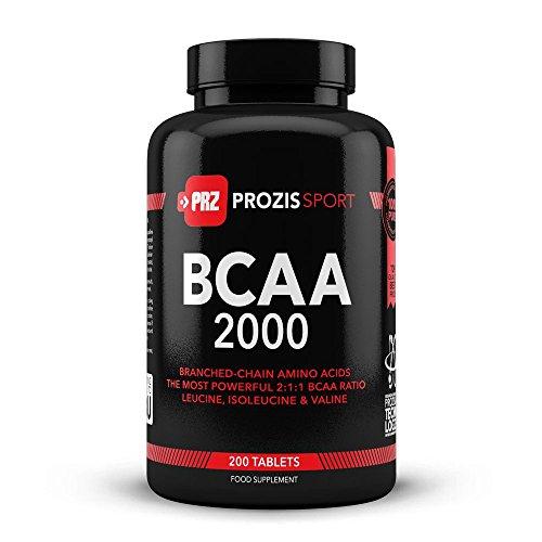 Prozis BCAA 2000 200 Compresse - 2:1:1 Leucina, Isoleucina, Valina - Promuove il Recupero & lo Sviluppo Muscolare - 50 Dosi