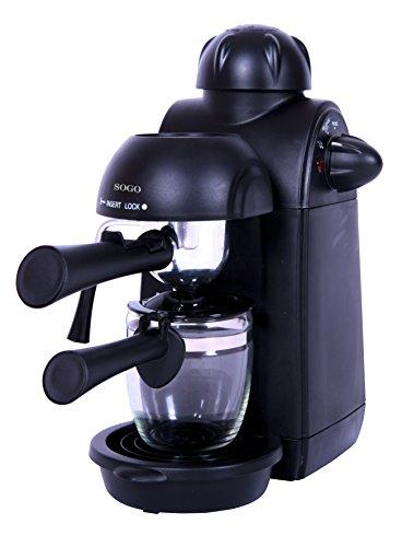 Sogo SS-5645 - Cafetera semi espresso combi para cappuccino y chocolate caliente, color negro