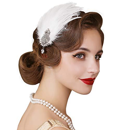 SWEETV Haarreif im Stil der 20er-Jahre, Federschmuck, Flapper, Haarband, Haar-Accessoires, Great Gatsby