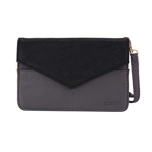Conze da donna portafoglio tutto borsa con spallacci per Smart Phone per Lava Iris Fuel 60/50 Grigio grigio grigio