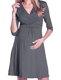 Gusspower Vestido de Maternidad Lactancia de Mujer,Cómodo Vestido de Embarazada DE 3/4