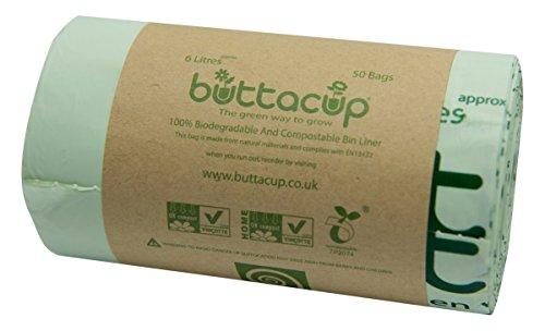 Buttacup 50Beutel x 6Liter Staubbeutel/Müllbeutel kompostierbar, Einlagen für Küche Caddy Lebensmittelabfälle (1x 50Stück) (Kompostierbare Beutel)