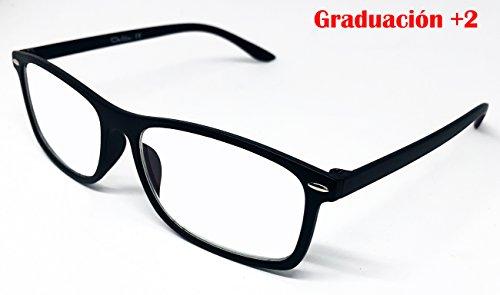 Delta Glasses con graduación - Gafas para ordenador, TV, tablet, smartphone, gaming. Contra el cansancio ocular, mayor confort visual, certificada una Reducción de la luz azul del 41% Y UV Del 100%, Filtro para Pantalla - Gafa de lectura con tratamiento anti-reflejante de luz azul. (+2)