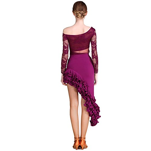 Manches Longues Costume de Danse Latine Pour Femme Dentelle Épissure Vêtements de Compétition Exécution Vêtements de Danse Set (2 PCS) Violet