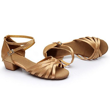 Calcanhar De Outro De Sapatos Marrom seda Xinjing Leopardo Dança Preto Latino s Nu Ouro Prata Senhoras Couro q80pZFE