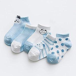 RUOHAN Kinder Socken 5 Paar Kindersocken Baumwollsocken Stereo-Schwein Ultradünne Netzsocken Baumwollbootsocken
