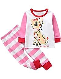 FRAUIT Familiares Ropa de Dormir Traje a Juego de Navidad Mujer Hombre Bebé Niño Niña de Pijamas Trajes de Ciervos navideños para Familia Ropa Camiseta Tops + Pantalones a Cuadros Rojos Conjunto