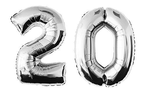 Globo de lámina 20 argentado Numero enorme 100 cm rellenable con helio o aero fiesta de cumpleaños