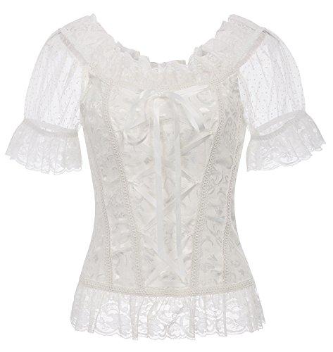Belle Poque Damen Retro Korsett Stil Jacquard Spitze Steampunk Tops Elfenbein Größe - Renaissance Stil Kostüm
