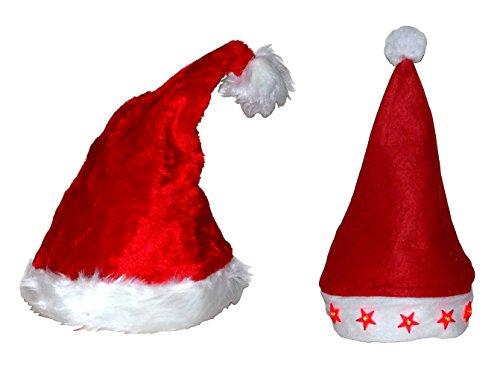 2er Set Tanzende Singende Musik Hit & LED Weihnachtsstern Weihnachtsmütze...