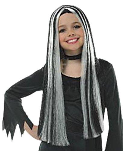 Zauberclown - Mädchen Perücke Halloween Hexe, Schwarz Weiss