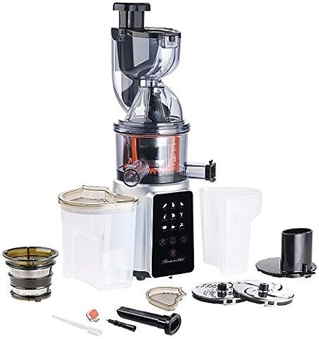 Rosenstein & Söhne Saft Maschine: 3in1-Slow-Juicer & Entsafter mit Gemüse-Reibe & Eis-Aufsatz, 200 Watt (Kaltpressen Entsafter)