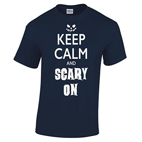 Behalten Sie Ruhe und Scary Auf Lustige Scary Halloween Kostüm Kürbis Herren T-Shirt