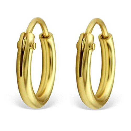 Bungsa goldene CREOLEN 925 Silber für Damen & Herren - GOLD - klassisches Kreolen Ohrringe Set für Frauen & Männer - schlichte goldfarbene Klapp-Creolen - goldene Ohrringe zum Klappen
