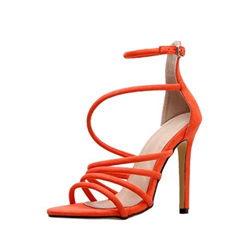 Lilicat sandali donna con cinturino in pelle tinta unita bocca di pesce tagliente sandali con tacco alto materiale sandali tinta unita moda casual tacchi alti trasparenti(ncione,35 eu)