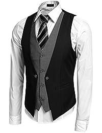 Coofandy Gilet de Costume Homme Veste sans Manche Casual Mariage Taille S-XXL