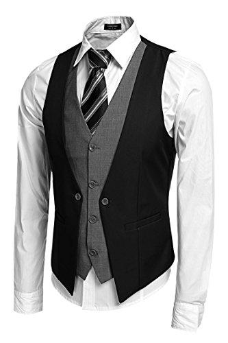 Coofandy Gilet de Costume Homme Veste sans Manche Casual Mariage Noir Taille M
