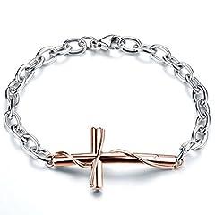 Idea Regalo - JewelryWe Bracciali da Uomo Donna in Acciaio Inossidabile,con Pendente Croce, Colore Nero e RosaOro, Bracciali Coppia Amanti