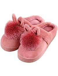 Inicio Zapatillas Preciosas con Orejas de Conejo, Suave, Suave, cálido, algodón,