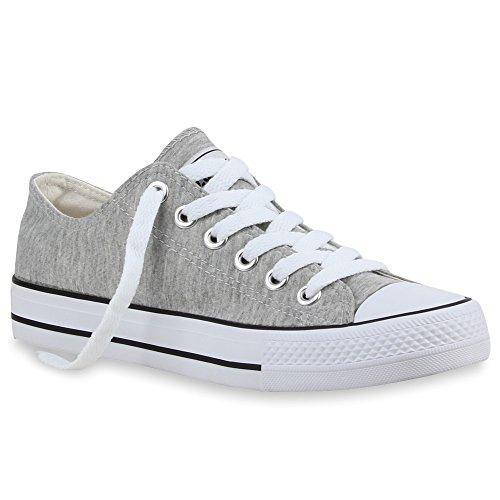 Damen Sneakers Turn Freizeit Low Sneaker Übergrößen Prints Glitzer Denim Schuhe 24762 Hellgrau 43 | Flandell®
