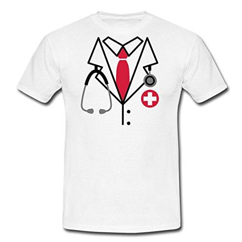 Spreadshirt Arzt Kostüm Männer T-Shirt, XXL, Weiß