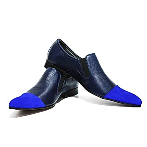 Modello Nardo - UK 11 - Handmade Italian Leather Mens Blue Moccasins Loafers - Calfskin Suede -