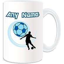 Grand cadeau personnalisé Mug foot Sport-Blanc Contour Design-nom Message sur le Mug Unique Cuju FIFA Football