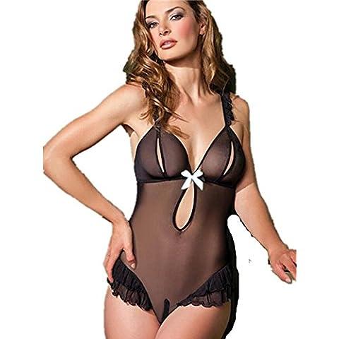 ZOYOL Lingerie tentazione nero vedere attraverso maglia set sexy signore