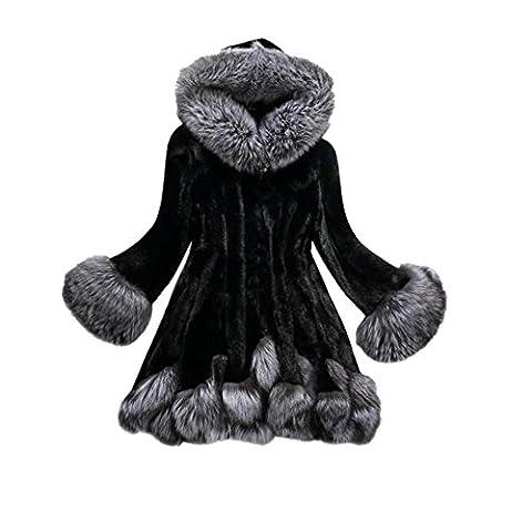 ♡ღ Femmes Manteau de Fourrure Fox, Ularmo® Coat Manche longue Parka Vêtements d'extérieur ღ♡ (34, Noir)