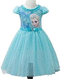 Eyekepper Kind-Maedchen-Karikatur Elsa Prinzessin Cosplay Gitter-Blase Kleid