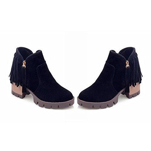 VogueZone009 Donna Punta Tonda Tacco Medio Bassa Altezza Puro Stivali Nero